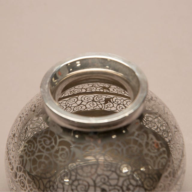 1950s 1950s Round Silver Overlay Vase For Sale - Image 5 of 7
