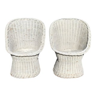 Vintage White Wicker Boho Scoop Chairs - a Pair For Sale