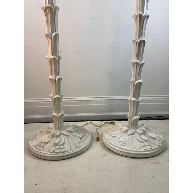 Tan Exceptional Pair of Carved Wood Floor Lamps in the Manner of Serge Roche For Sale - Image 8 of 11