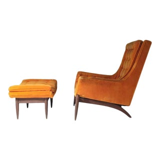 Swank Vintage Lounge & Ottoman in the manner of Adrian Pearsall For Sale