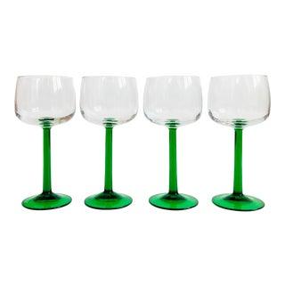 Vintage Green Stemmed Wine Glasses - Set of 4 For Sale