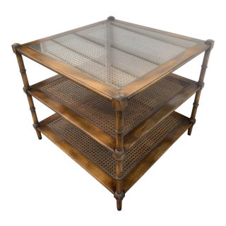 John Widdicomb Faux Bamboo and Cane Three Tier Side Table For Sale