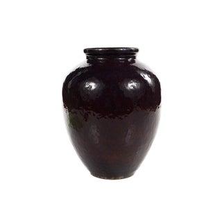 19th C. Antique Chinese Dark Burgundy Ceramic Vase For Sale