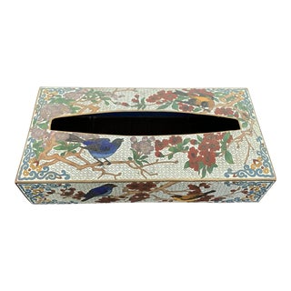 1970s Vintage Cloisonné Tissue Box Cover For Sale