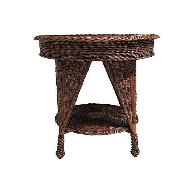 Heywood-Wakefield Antique Wicker Heywood Wakefield Table For Sale - Image 4 of 10