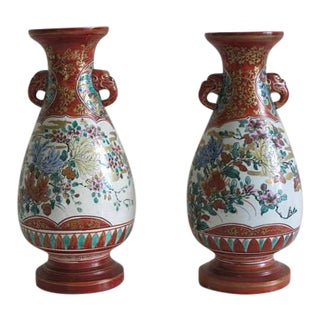 Signed Meiji Period 19th Century Iron Red Kutani Vases - A Pair For Sale