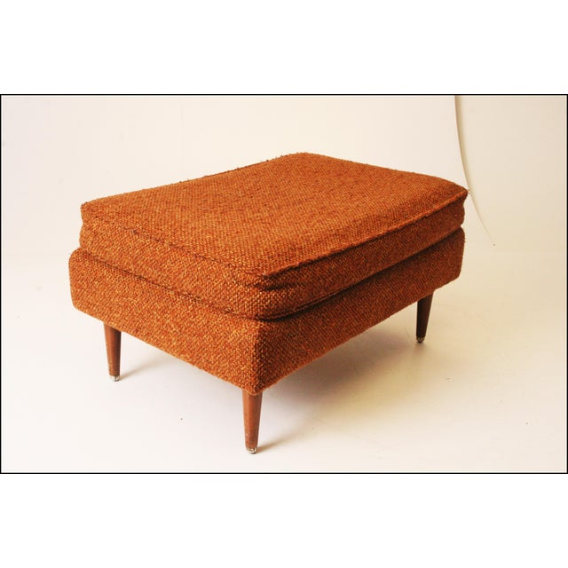 Mid-Century Modern Brown Upholstered Foot Stool - Image 7 of 11