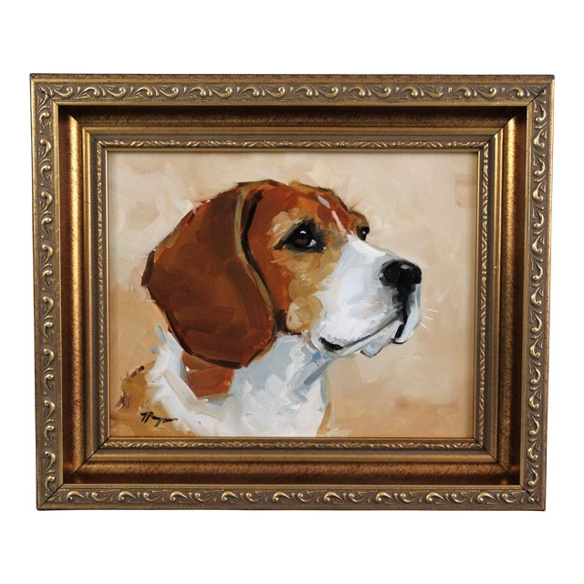 Beagle Dog Oil on Canvas Portrait Painting - Image 1 of 7