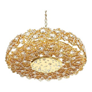 Palwa Crystal Glass Gold Brass Chandelier Refurbished Lamp, 1960 For Sale