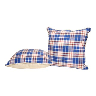 Red, White & Blue Plaid Pillows- A Pair For Sale