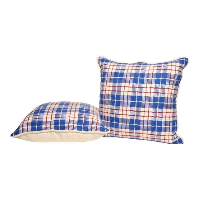 Red, White & Blue Plaid Pillows- A Pair For Sale