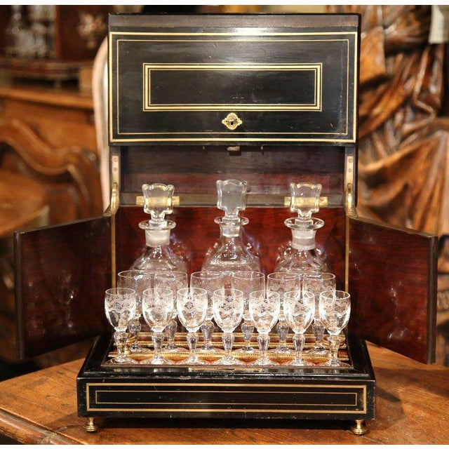 Add elegance to your wet bar with this antique cave à liqueur! Crafted in France circa 1870, the mahogany box features a...