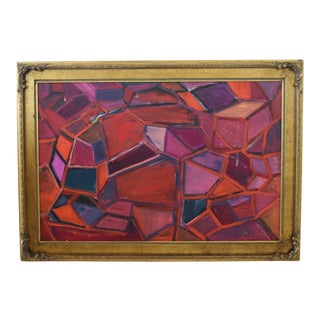 Juan Pepe Guzman Colorful Abstract Oil Painting For Sale