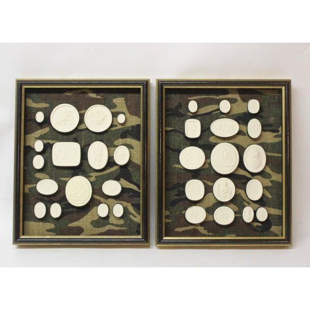 Plaster Antique Plaster Framed Camouflage Intaglios - Set of 2 For Sale - Image 7 of 8