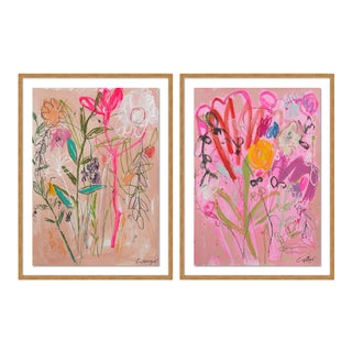 Wildflower Bouquet Diptych by Lesley Grainger in Gold Frame, Medium Art Print For Sale