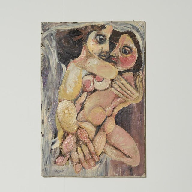 1990s Ugo Di Portanova Art Brut Oil on Canvas Painting For Sale - Image 4 of 4