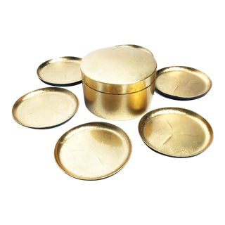 Vintage Mid Century Japanese Gold Lacquer Ware Coaster- Set of 7 For Sale