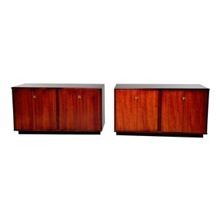 Mid Century Italian Rosewood 2-Door Cabinets With Ebony Detailing - Pair For Sale