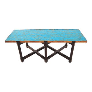 Edward Wormley Murano Glass Tile Top Coffee Table For Sale