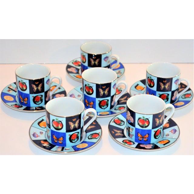 Vintage Mid Century Gucci Guccissimo Porcelain Espresso Cup Saucer Set- 12 Pieces For Sale - Image 13 of 13