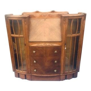 Art Deco Side-By-Side Bookcase Slant Front Secretary Desk For Sale
