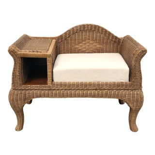 Vintage Wicker Gossip Bench Telephone Table For Sale