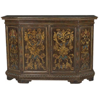 Italian Baroque Style Painted Two-Door Credenza, 19th Century For Sale