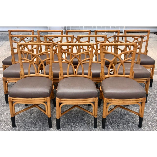 Bamboo & Leather Dining Chairs, S/12 For Sale - Image 11 of 11