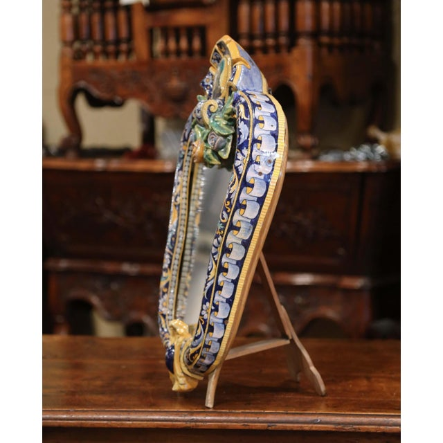 Ceramic 19th Century French Painted Ceramic Vanity Mirror With Joan of Arc Medallion For Sale - Image 7 of 10