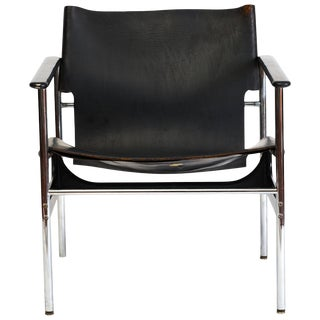 1960s Vintage Charles Pollock Leather Sling Armchair Model 657 For Sale
