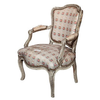 Jansen French Painted Louis XIV Style Armchair For Sale