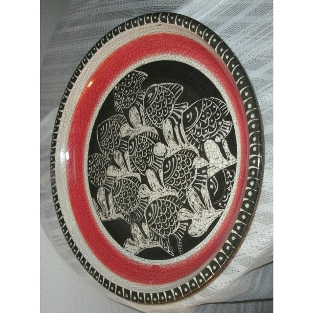 """Large decorative platter, not know if safe for serving or not. About 15.5"""" around and approx 2"""" deep. Beautiful hand-..."""
