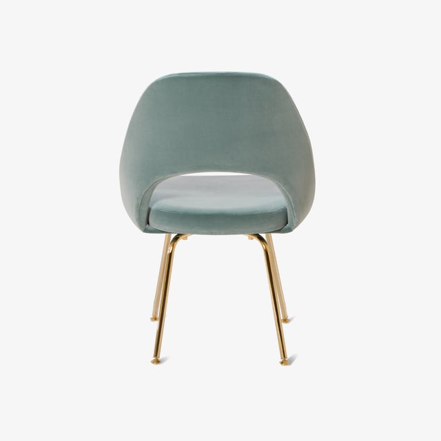 Eero Saarinen Original Vintage Saarinen Executive Armless Chairs Restored in Celadon Velvet, Custom 24k Gold Edition - Set of 6 For Sale - Image 4 of 7