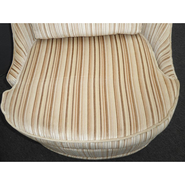 Brown Vintage Mid-Century Modern Milo Baughman Style Tan Stripped Velvet Swivel Chairs - a Pair For Sale - Image 8 of 13