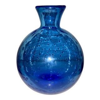 Handblown Blue Controlled Bubble Vase For Sale