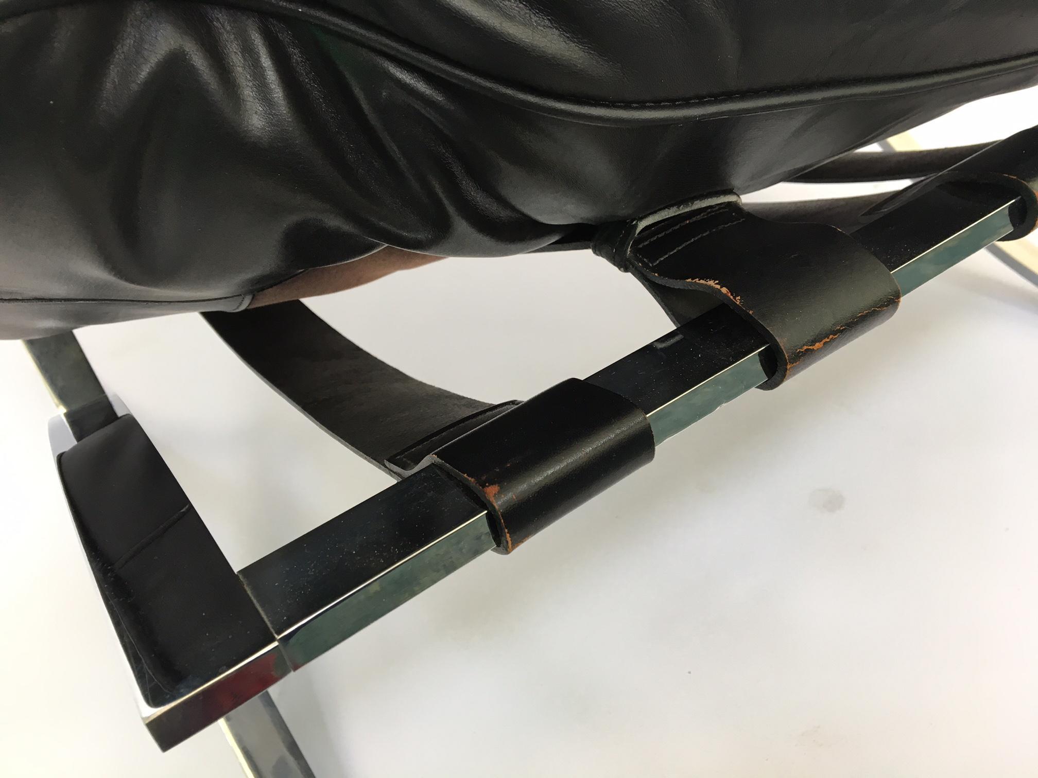 ludwig mies van der rohe barcelona. Black Leather Barcelona Chair After Ludwig Mies Van Der Rohe - Image 7 Of 11