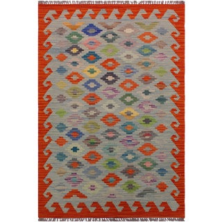 Contemporary Kilim Alyson Gray/Rust Hand-Woven Wool Rug - 3'0 X 4'10 For Sale