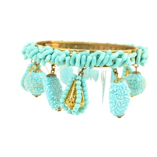 Miriam Haskell Turquoise Beaded Bangle Bracelet 1950s For Sale
