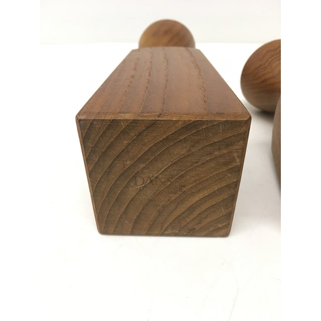 1970s Teak Candle Holders by Dansk - a Pair For Sale - Image 5 of 6