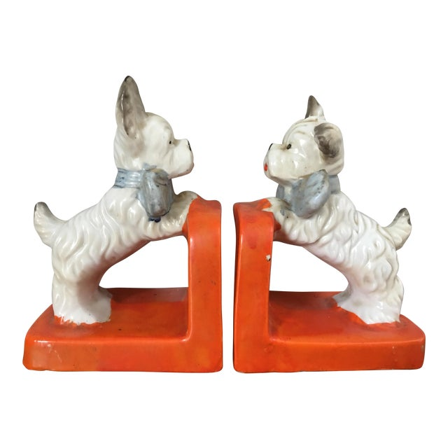 Vintage Ceramic Terrier Bookends - Pair For Sale