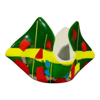Vintage Abstract Geometric Fused Glass Handkerchief Vase For Sale