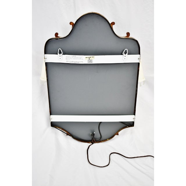 Vintage Tole Style Lighted Wall Mirror For Sale - Image 11 of 13