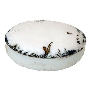 Oval Milk Glass Trinket Box For Sale