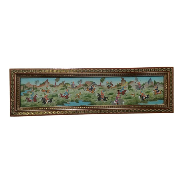 Vintage Persian Painting of Battle Scene in Marquetry Frame For Sale