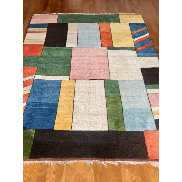 1990s Colorful Turkish Rug, Home Decor, Area Rug 6.6*5.3 Ft. For Sale - Image 5 of 12
