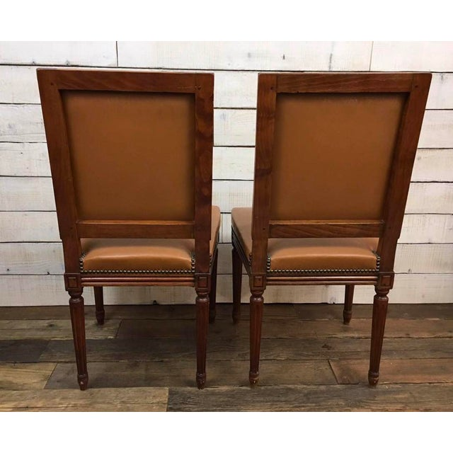 Antique Louis XVI Leather Upholstered French Country Chairs - A Pair - Image 10 of 11