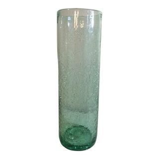 Vintage Blenko Green Crackle Vase For Sale