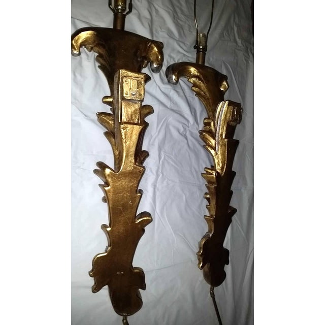 French Regency Hollywood Gold Silver Wall Sconce Lamps - a Pair Last Call For Sale - Image 3 of 12