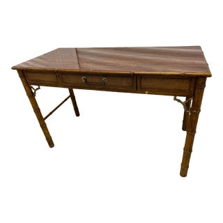 Asian Chinoiserie Faux Bamboo Writing Desk For Sale