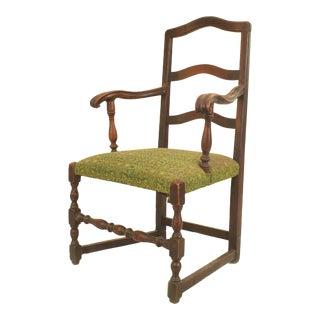 English Provincial Walnut Arm Chair For Sale